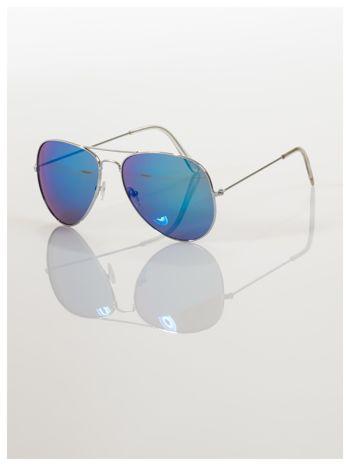 AVIATORY srebrne okulary pilotki lustrzanki niebieskie