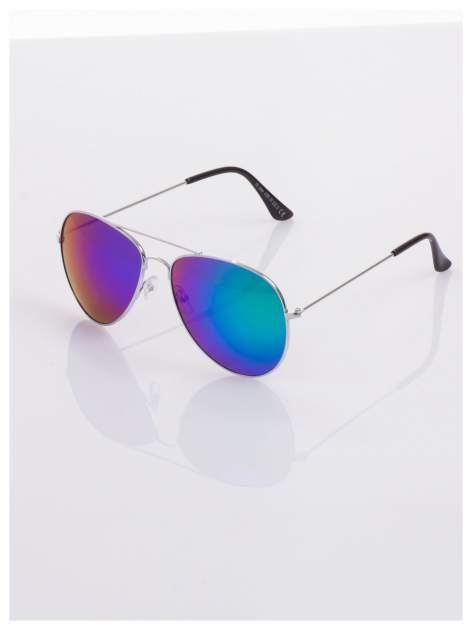 AVIATORY srebrne okulary pilotki lustrzanki niebieskio-zielone                                  zdj.                                  1