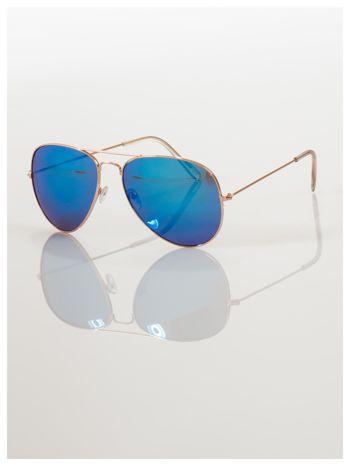 AVIATORY złote okulary pilotki lustrzanki niebieskie                                  zdj.                                  1