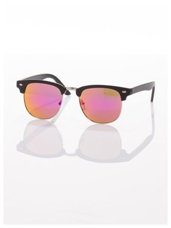 Czarne okulary przeciwsłoneczne lustrzanki typu CLUBMASTER                                   zdj.                                  2