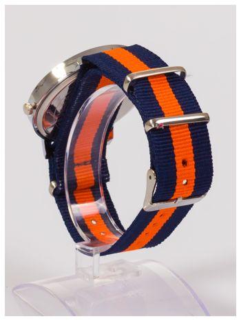 Nowoczesny i elegancki zegarek unisex granatowo-pomarańczowy. Doskonały na każdą okazję.                                  zdj.                                  3