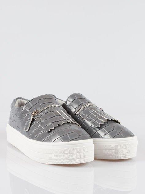 Szare buty slip on ze skóry krokodyla Jill                                  zdj.                                  2