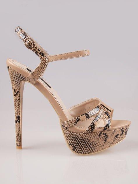 Beżowe wężowe sandały na szpilce Amber zapinane na kostce                                  zdj.                                  1