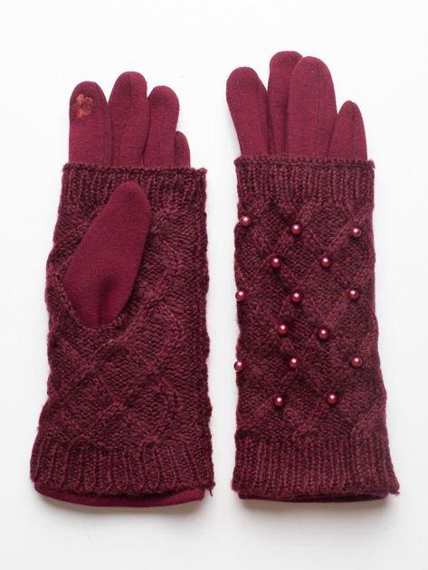 2 w 1 Damskie Bordowe Rękawiczki Dotykowe i Mitenki z perełkami