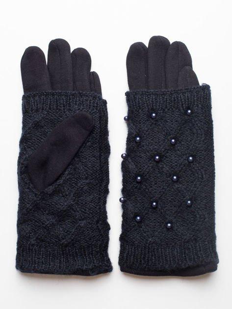 2 w 1 Damskie Granatowe Rękawiczki Dotykowe i Mitenki z perełkami