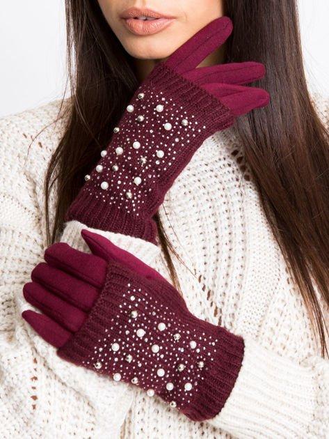 2 w 1 Damskie Rękawiczki MITENKI z perełkami
