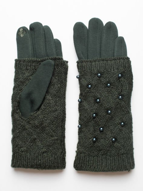 2 w 1 Damskie Zielone Rękawiczki Dotykowe i Mitenki z perełkami