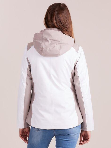 4F Biało-beżowa kurtka zimowa narciarska                              zdj.                              2