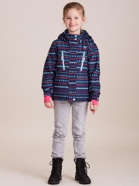 4F Granatowa wzorzysta kurtka narciarska dla dziewczynki                              zdj.                              2