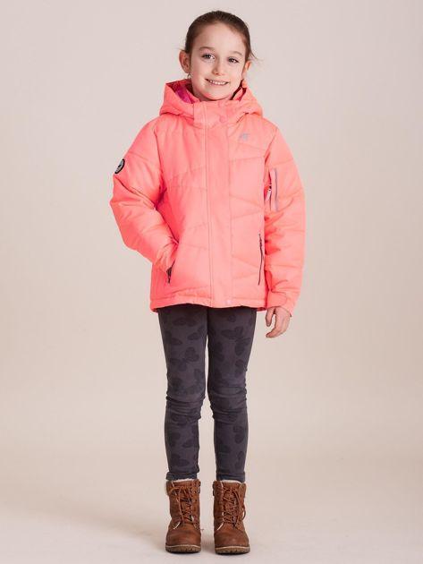 4F Neonowa koralowa pikowana kurtka narciarska dla dziewczynki                              zdj.                              7