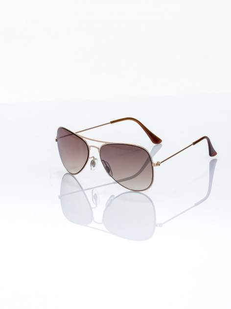 ABSOLUTNY HIT CENOWY brązowo-złote okulary przeciwsłoneczne pilotki lustrzankii AVIATOR