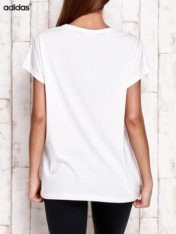 ADIDAS Biały t-shirt z piłkarskim nadrukiem                                  zdj.                                  3