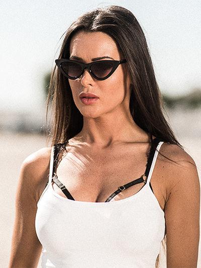 ASPEZO Okulary przeciwsłoneczne damskie czarne MALAGA Etui skórzane, etui miękkie oraz ściereczka z mikrofibry w zestawie