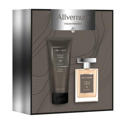 "Allvernum Men Zestaw prezentowy Tobacco & Amber (woda perf.100ml+żel pod pr.200ml) 1op."""