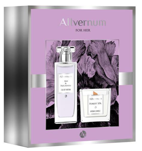 """Allvernum Zestaw prezentowy (woda perf.Iris & Patchouli 50ml + świeca Forest Spa 100g)"""""""