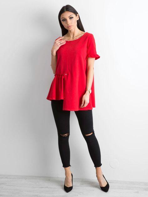 Asymetryczna bluzka czerwona                              zdj.                              4
