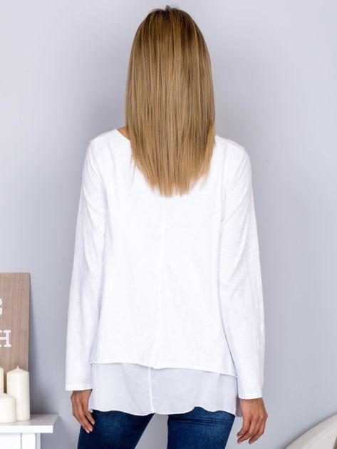 Asymetryczna luźna bluzka w łódkę biała                              zdj.                              2
