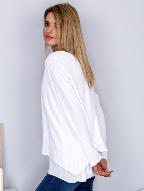 Asymetryczna luźna bluzka w łódkę biała                              zdj.                              5