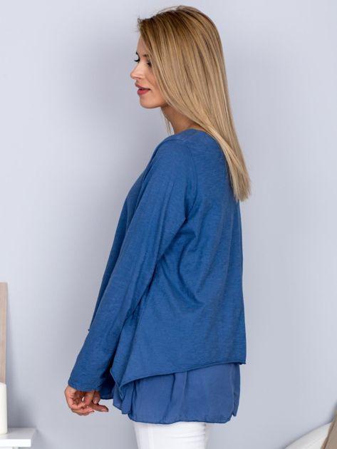 Asymetryczna luźna bluzka w łódkę niebieska                              zdj.                              3