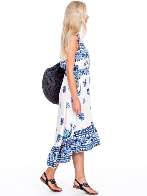 Asymetryczna sukienka w etniczne wzory niebieska                              zdj.                              3