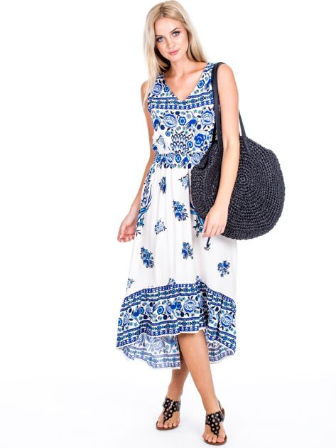 Asymetryczna sukienka w etniczne wzory niebieska                              zdj.                              4