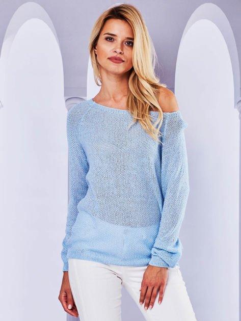 Ażurowy sweter z kokardą na plecach jasnoniebieska                                  zdj.                                  2