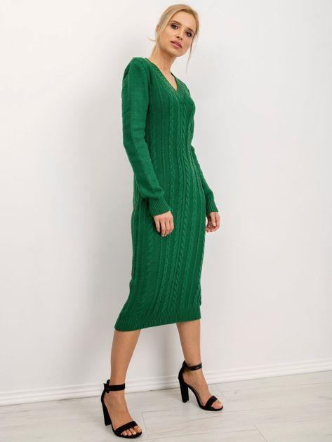 BSL Zielona sukienka dzianinowa                              zdj.                              1