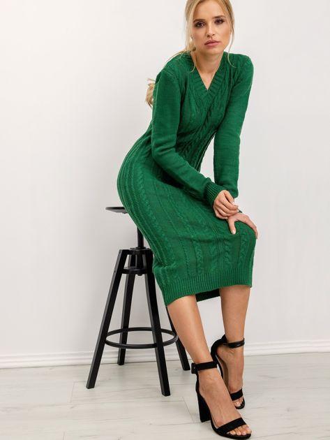 BSL Zielona sukienka dzianinowa                              zdj.                              2