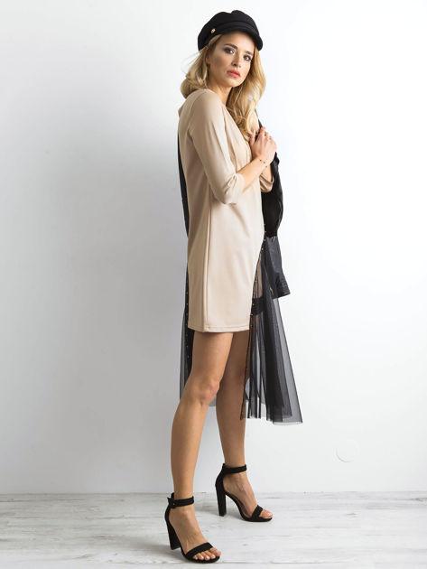 BY O LA LA Beżowa asymetryczna sukienka                              zdj.                              3