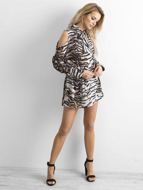 BY O LA LA Biało-czarna sukienka w tygrysie paski                              zdj.                              4