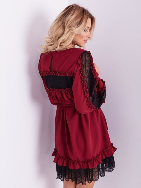 BY O LA LA Bordowa sukienka z koronką i falbankami                              zdj.                              10