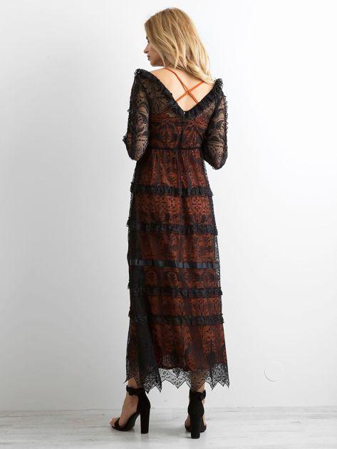 BY O LA LA Czarna sukienka maxi z koronki                              zdj.                              2