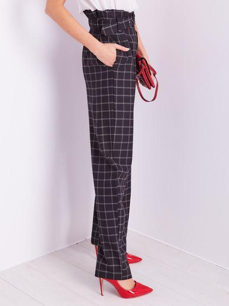 BY O LA LA Czarne eleganckie spodnie w kratę                              zdj.                              7