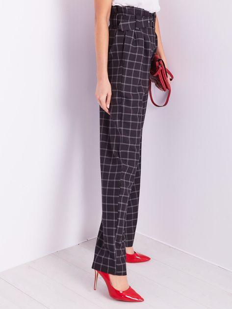 BY O LA LA Czarne eleganckie spodnie w kratę                              zdj.                              9