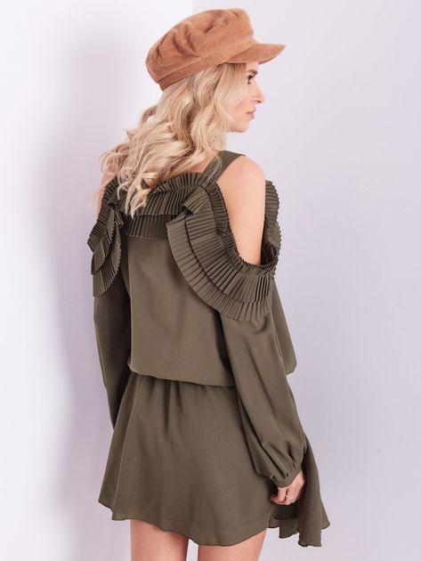 BY O LA LA Khaki sukienka cut out z plisowanym żabotem                              zdj.                              11