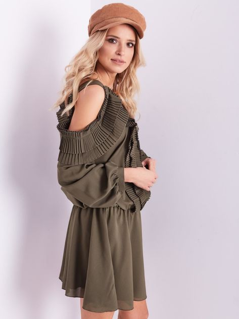 BY O LA LA Khaki sukienka cut out z plisowanym żabotem                              zdj.                              8