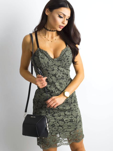 BY O LA LA Khaki sukienka koronkowa                              zdj.                              5