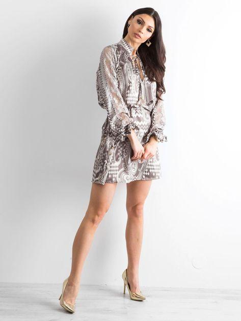 BY O LA LA Khaki sukienka we wzory                              zdj.                              4