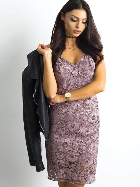 BY O LA LA Różowa sukienka koronkowa                              zdj.                              6