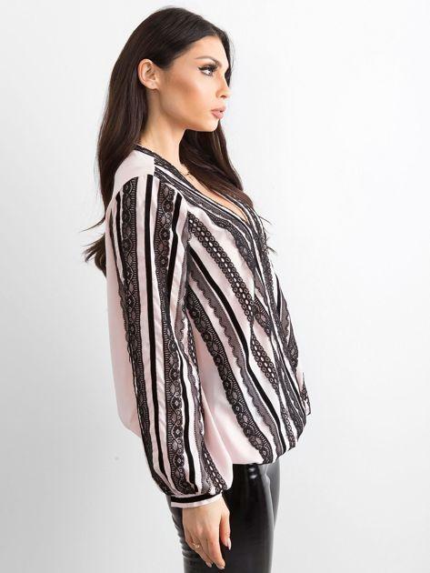 BY O LA LA Różowo-czarna bluzka z koronką                              zdj.                              3