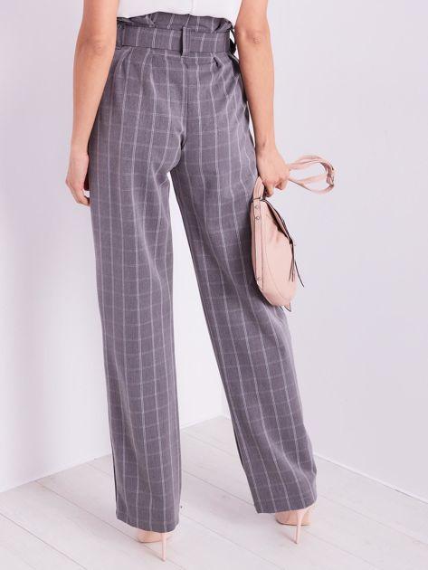 BY O LA LA Szare eleganckie spodnie w kratę                              zdj.                              4