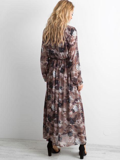 BY O LA LA Wzorzysta sukienka maxi brązowa                              zdj.                              2