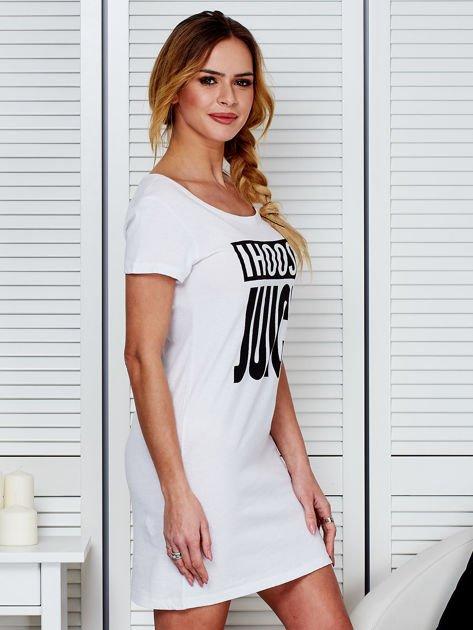 Bawełniana biała sukienka z nadrukiem                              zdj.                              3