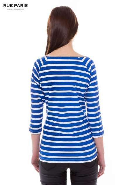 Bawełniana bluzka w biało-niebieskie paski w stylu marynistycznym                                  zdj.                                  3