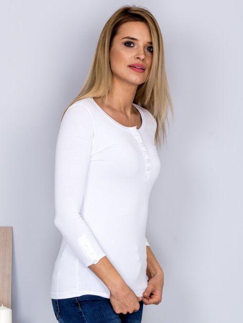 Bawełniana bluzka z guzikami biała                              zdj.                              3