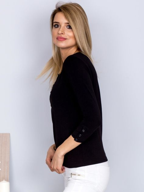 Bawełniana bluzka z guzikami czarna                              zdj.                              3