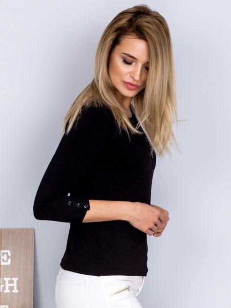 Bawełniana bluzka z guzikami czarna                              zdj.                              5