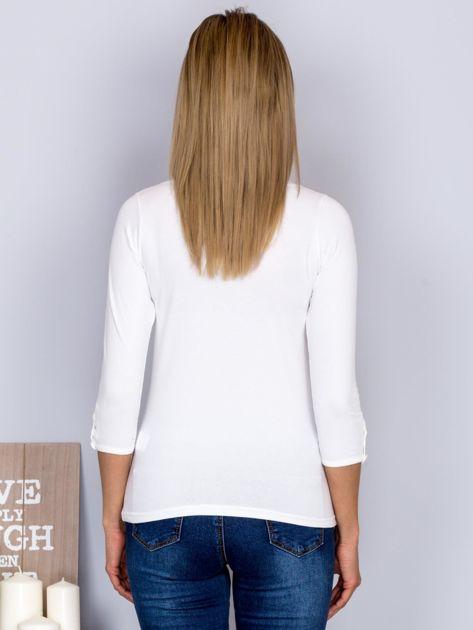 Bawełniana bluzka z guzikami ecru                              zdj.                              2