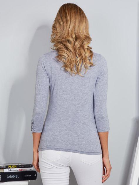 Bawełniana bluzka z guzikami jasnoszara                              zdj.                              2