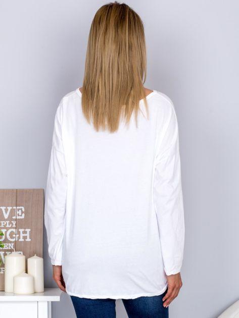 Bawełniana bluzka z nadrukiem kwiatów biała                                  zdj.                                  2